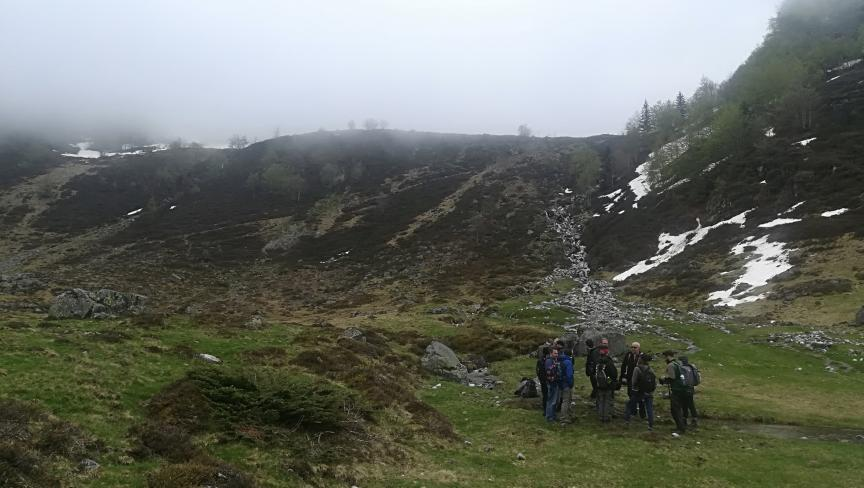 Recording snow-melt and mountain streams at Coumebiere (1400m)
