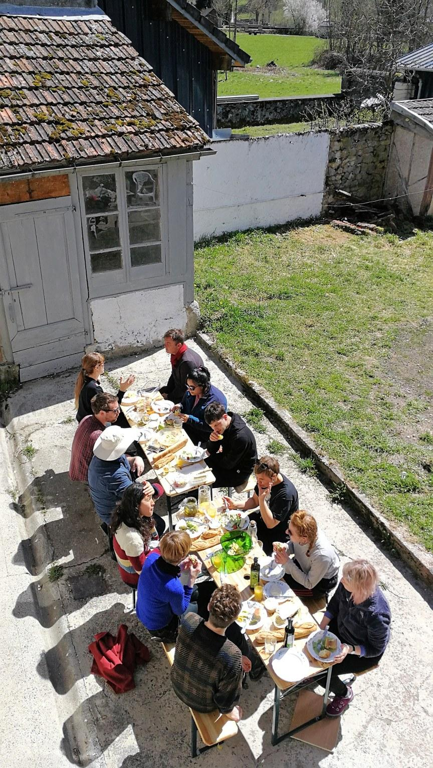 Lunch in the spring sun